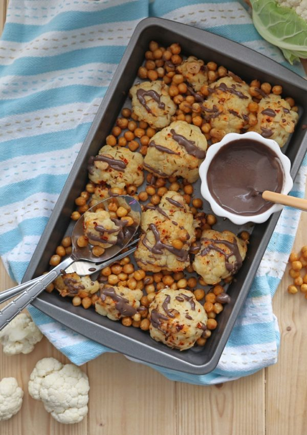 Roasted Cauliflower with Chickpeas and Tahini Pomegranate Dressing