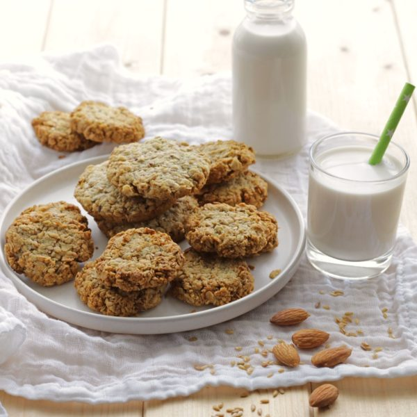 Vegan Almond Milk Flaxseed Oat Cookies